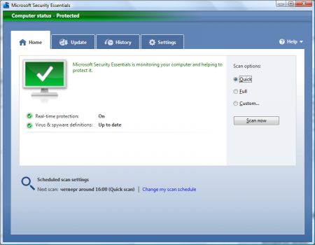 Microsoft Security Essentials Version 1.0.1611.0