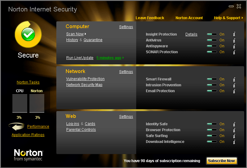 It safeguards your computer, identity, and network Includes - Norton