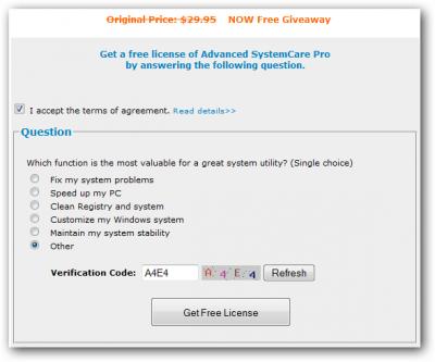 B IObit Advanced SystemCare 3 - бесплатный ключ на 1.